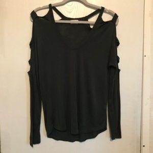 Glitz long sleeve top cold shoulder FGreen Med